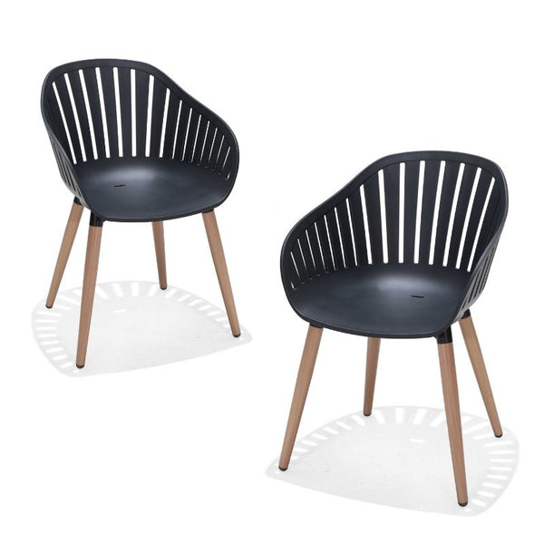 SET OF 2: NASSAU DINING CHAIRS - BLACK