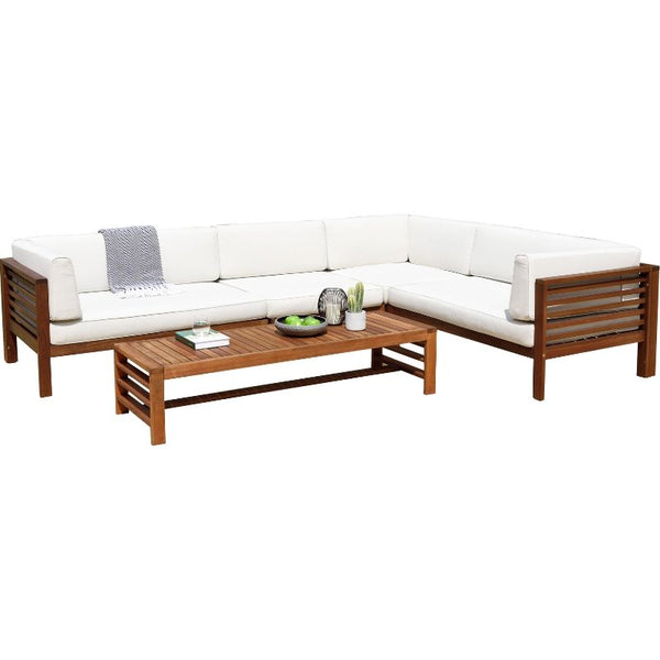 docklands deluxe corner set + table - off-white