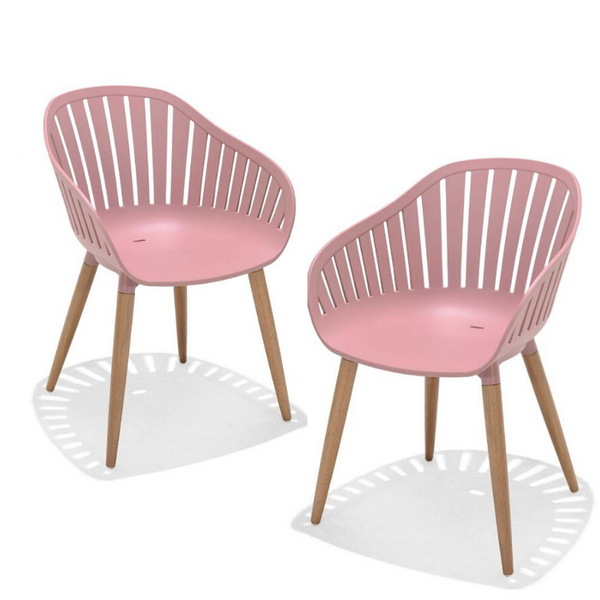 SET OF 2: NASSAU DINING CHAIRS - PINK
