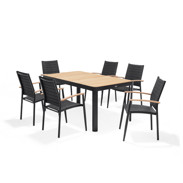 Portals 6 Seater Dining Set - Dark | PREORDER