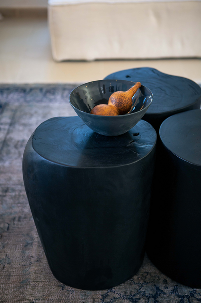 LOG STOOL - SLATE BLACK