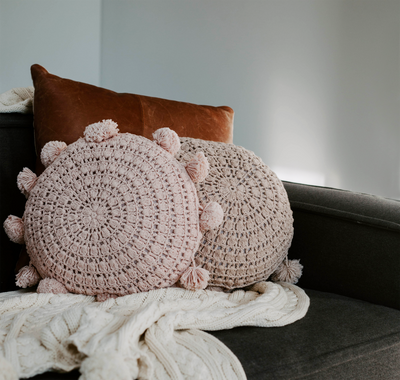 DUSTY PINK POM POM CUSHION