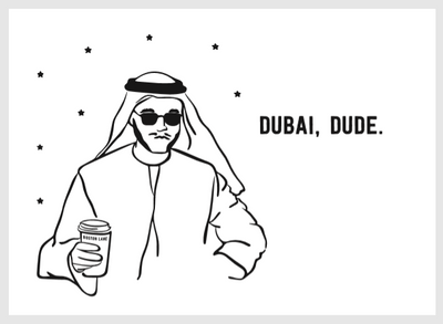 G*D DUBAI DUDE POSTCARD - WHITE
