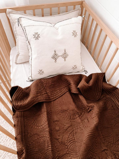 KANTHA COT QUILT - CHOCOLATE