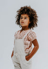 NATURAL LINEN KIDS CROSS BACK OVERALLS
