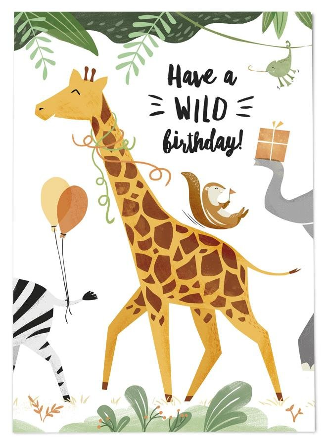 54 ILLUSTRATION POSTKARTE WILD BIRTHDAY - Sausebrause Shop