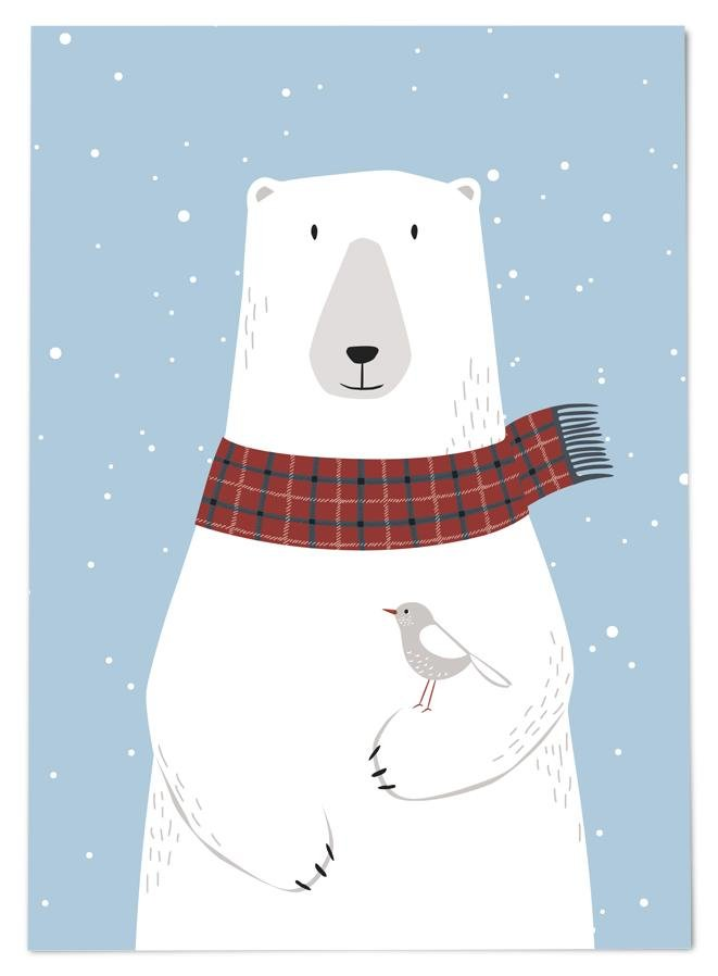 54 ILLUSTRATION POSTKARTE WINTER EISBÄR - Sausebrause Shop