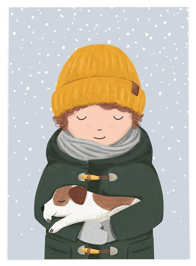 54 ILLUSTRATION POSTKARTE WINTER JUNGE - MIT HUND - Sausebrause Shop