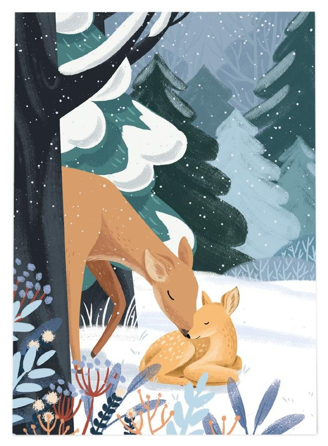 54 ILLUSTRATION POSTKARTE WINTER - REHE - Sausebrause Shop