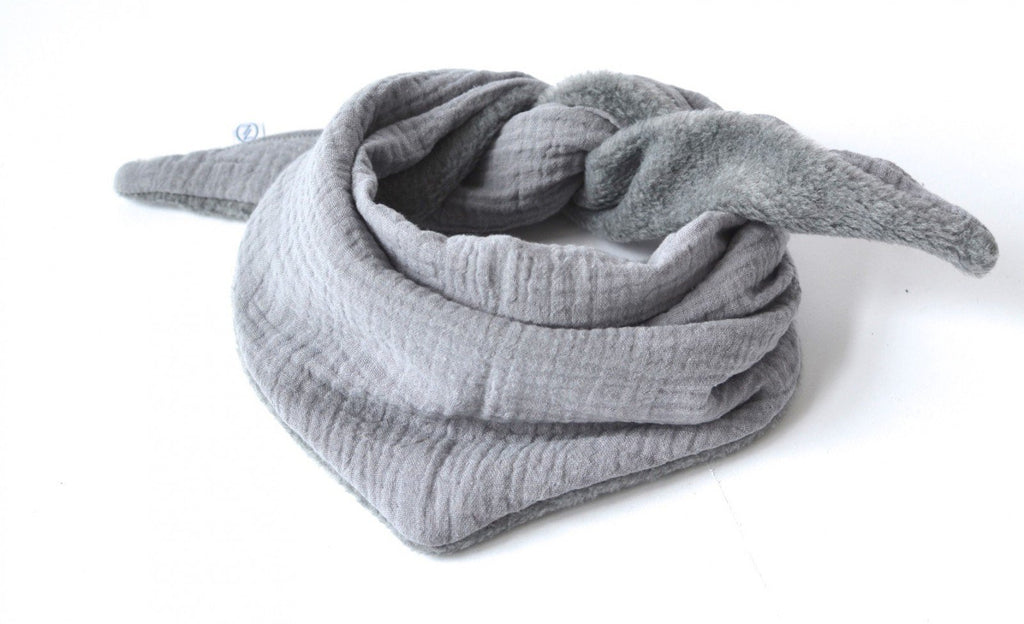 DREIECKSTUCH MUSSELIN + FLEECE GRAU - Sausebrause Shop
