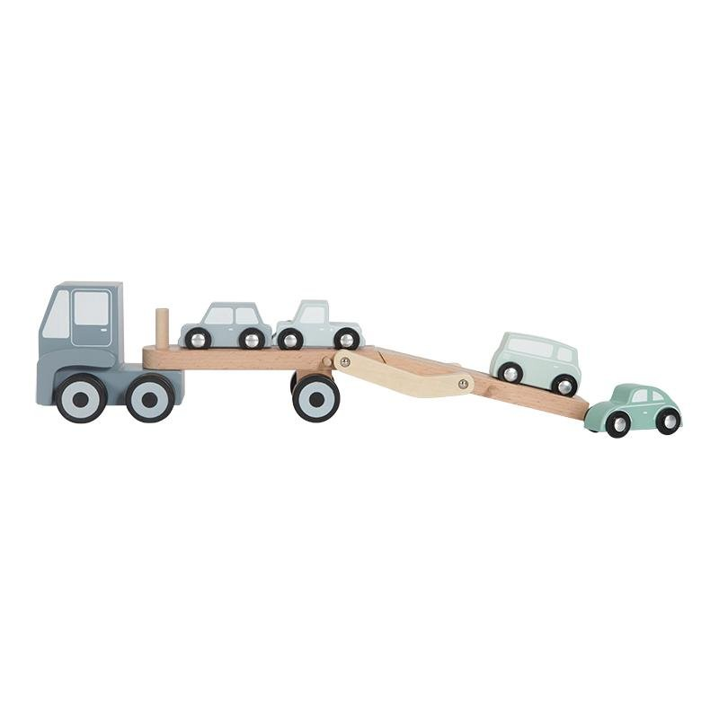LITTLE DUTCH HOLZ AUTOTRANSPORTER BLAU - Sausebrause Shop