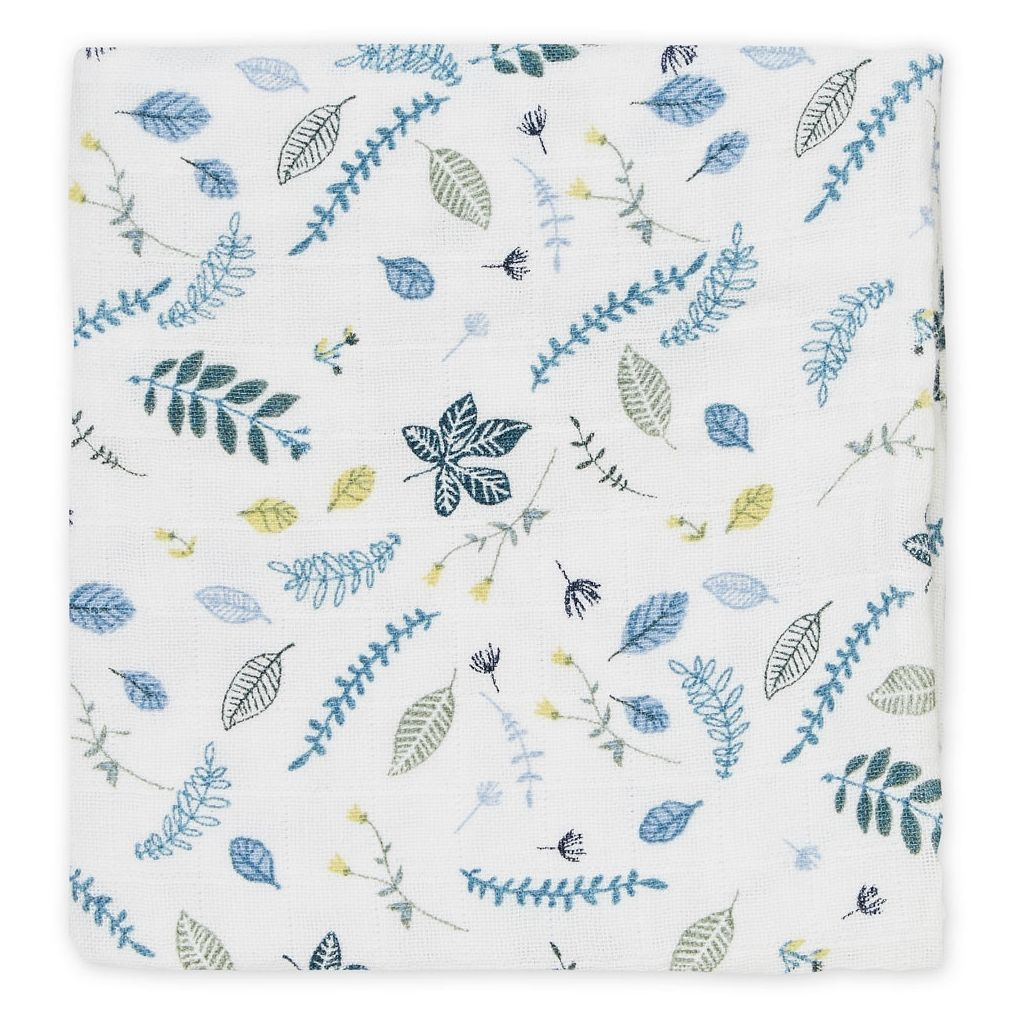 MOLTONTUCH PRESSED LEAVES BLUE - Sausebrause Shop