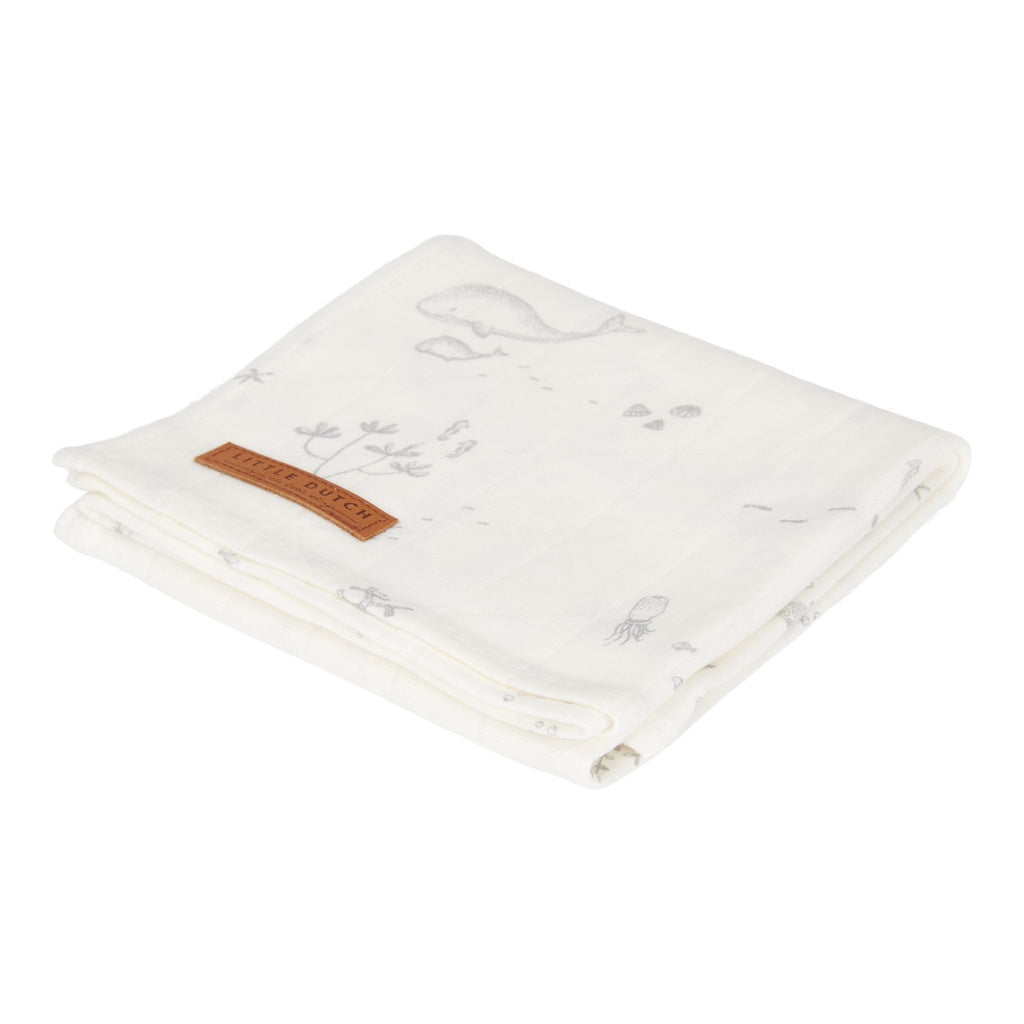 SWADDLE 120 X 120 CM OCEAN WHITE - Sausebrause Shop