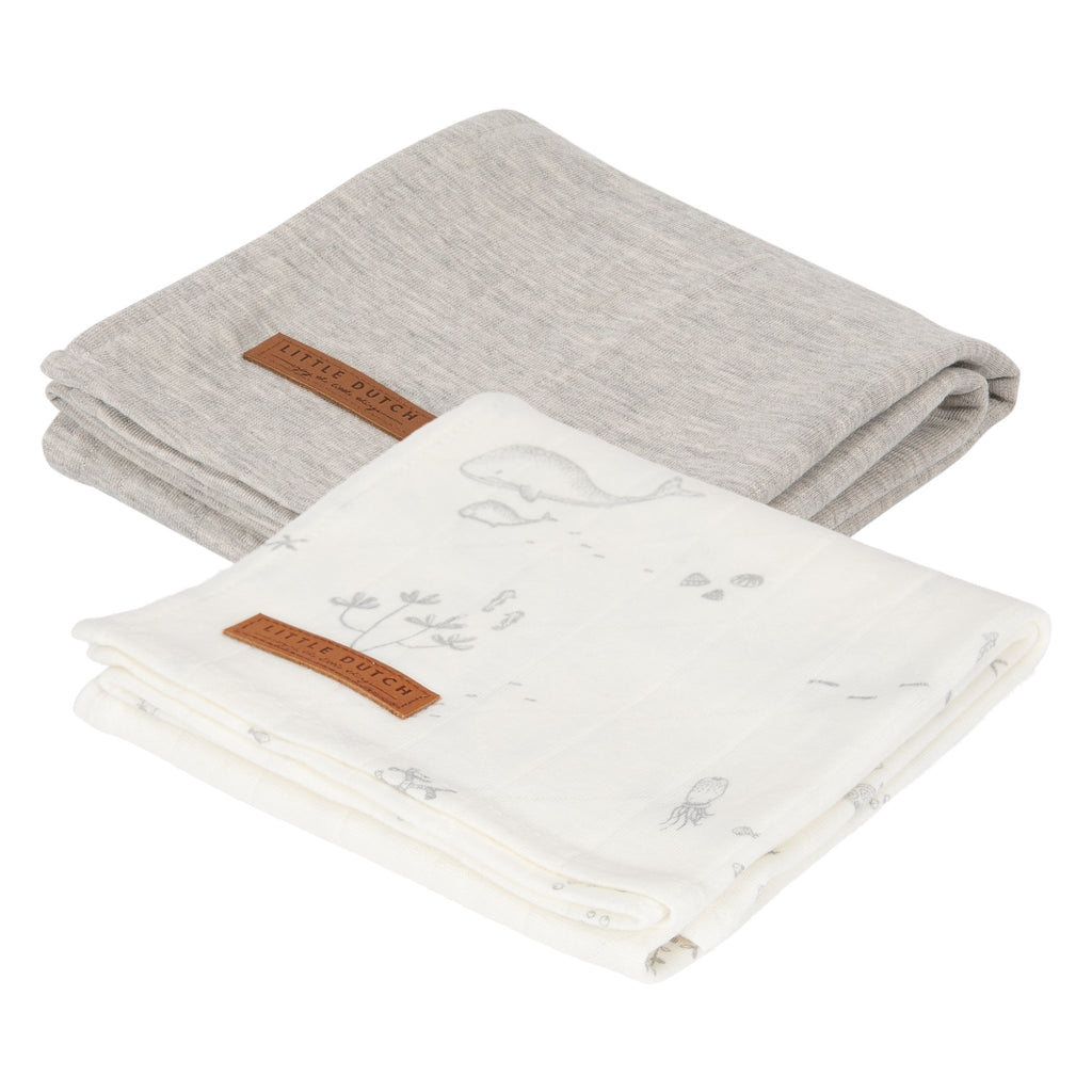 SWADDLES 70 X 70 OCEAN WHITE / PURE GREY - Sausebrause Shop