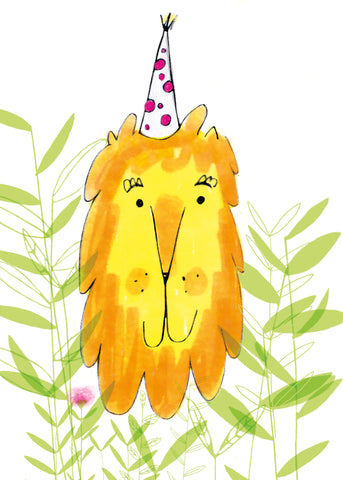 LION IN A PARTY HAT - Greeting Card