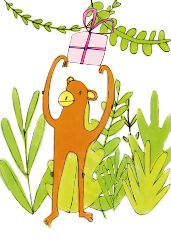 MONKEY WITH A PRESENT - Greeting Card