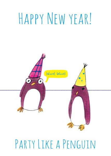 PENGUIN HAPPY NEW YEAR  - Greeting Card