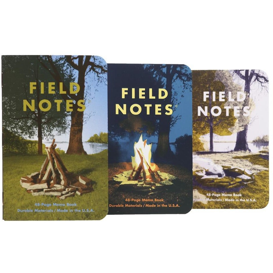 Field Notes FNC-35 limited edition CAMPFIRE pack of 3 memo books with free embroidered merit badge. Graph Grid. 3.5