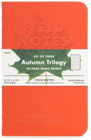 FIELD NOTES AUTUMN TRILOGY SET OF THREE MEMO BOOKS FNC-44- FIELD NOTES