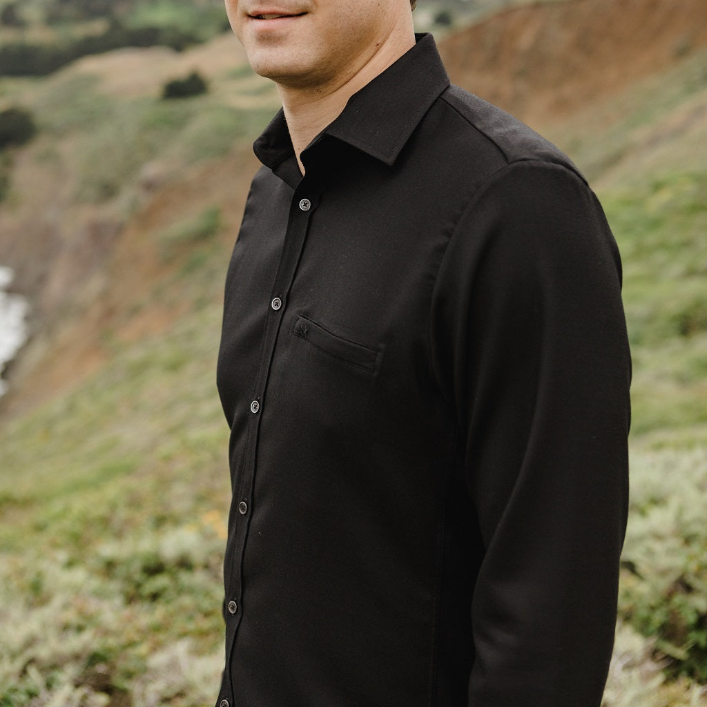 Merino Wool Shirt – Hardvark Black Twill Voyager Merino Wool Shirt