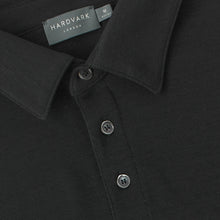 Merino Polo Shirt – Hardvark Black Merino Wool Pique Polo Shirt Collar Details
