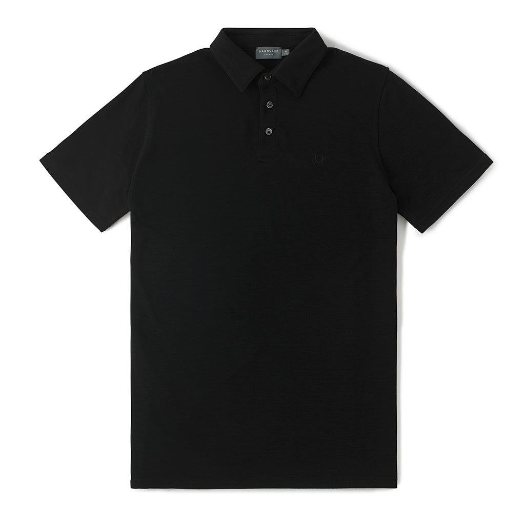 Merino Polo Shirt – Hardvark Black Merino Wool Pique Polo Shirt Flat