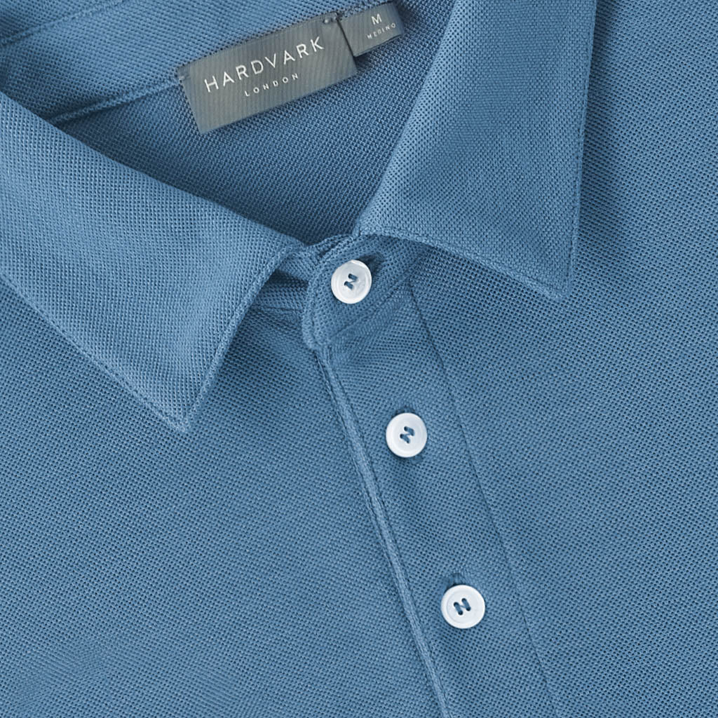Merino Polo Shirt – Hardvark Denim Blue Merino Wool Pique Polo Shirt Collar Details