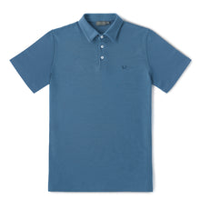 Merino Polo Shirt – Hardvark Denim Blue Merino Wool Pique Polo Shirt Flat