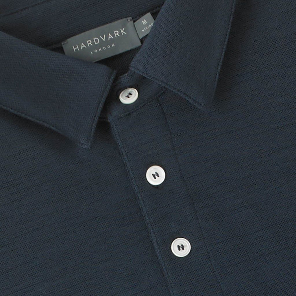 Merino Polo Shirt – Hardvark Navy Merino Wool Pique Polo Shirt Collar Details