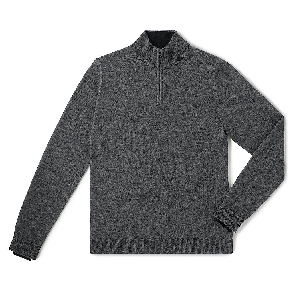 Performance Merino Sweater – Hardvark Charcoal Revelstoke Merino Wool Half Zip Sweater Flat