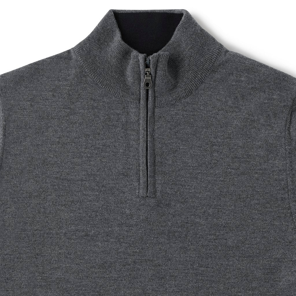 Performance Merino Sweater – Hardvark Charcoal Revelstoke Merino Wool Half Zip Sweater Details