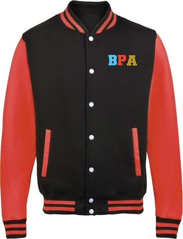 Barbara Priestman Academy Jet Black / Fire Red Sixth Form Varsity Jacket