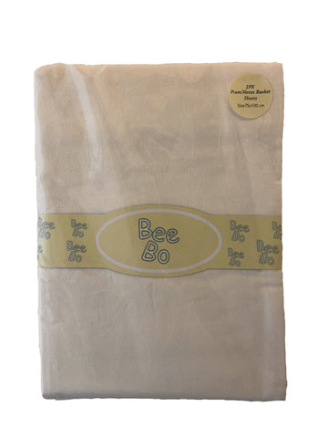 Bee Bo, 2 Pack Cream Flat Pram/Moses Basket Sheets