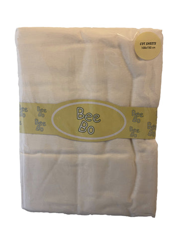 Bee Bo, Pack of 2 Cream Flat Cot Sheet