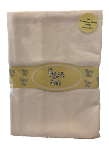 Bee Bo, Pack of 2 White Pram/Moses Basket Sheets