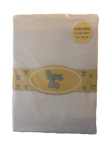Bee Bo White Fitted Terry Cot Bed Sheet