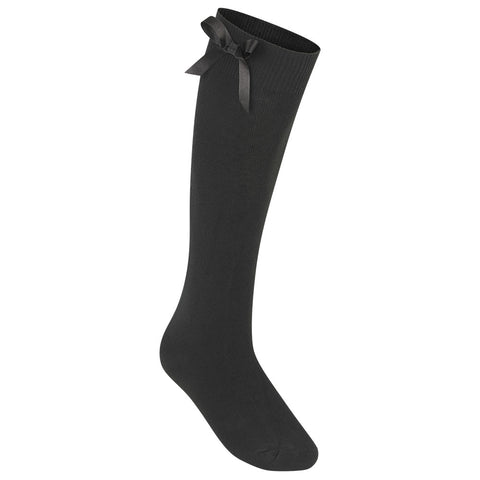 Black Zeco Knee Length Bow Socks