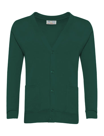 Bottle Green Plain Cardigan