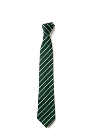 The Independent Grammar School : Durham Bottle Green / White Stripe Elastic Tie