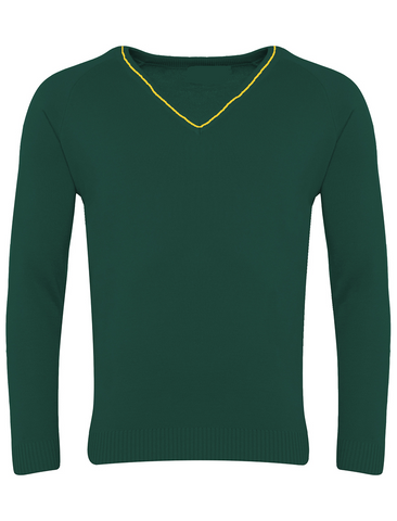 St Michael's R.C. Primary School - Newcastle Bottle Green with Gold Stripe V-Neck Jumper