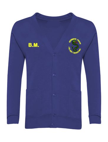 Bournmoor Primary School Royal Blue Cardigan With Initials