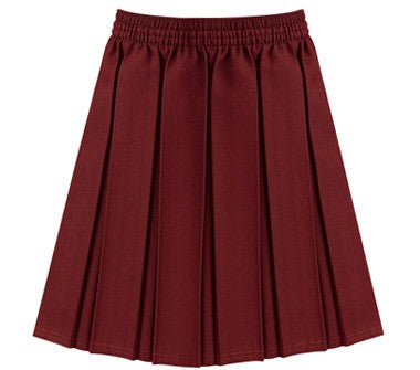Burgundy Box Pleated Skirt