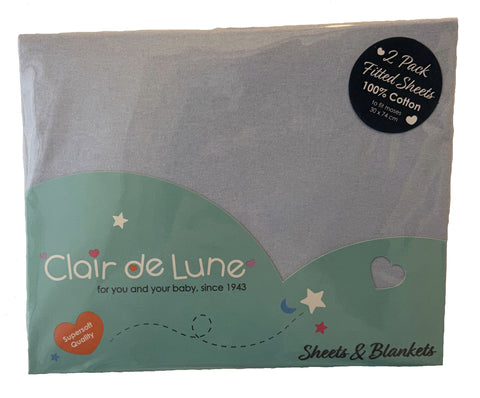 Pack of 2, Clair de Lune Baby Blue Moses Basket Sheets