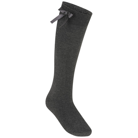 Grey (Zeco) Knee Length Bow Socks