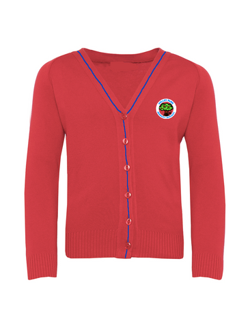 Holley Park Nursery Academy Red with Royal Stripe Cardigan