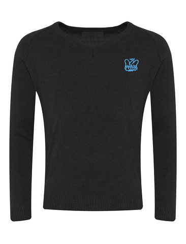 Lord Lawson Of Beamish Academy Black V-Neck Jumper - Brookside/Blue