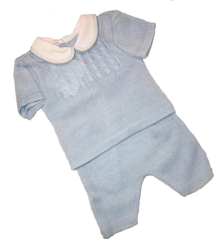 My Little Chick, Baby Blue 2 Piece Knitted Top & Short Set