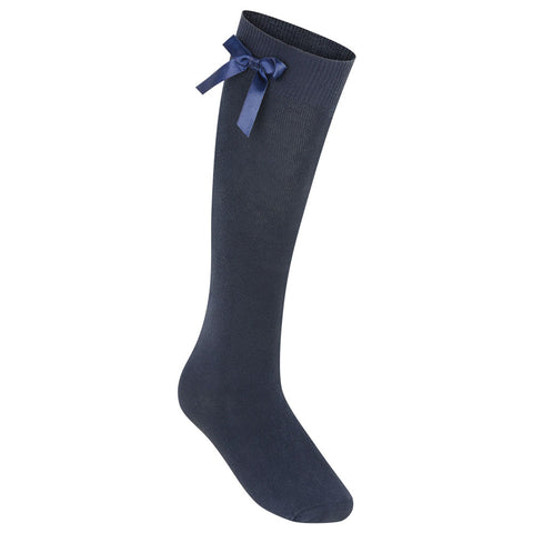 Navy Zeco Knee Length Bow Socks