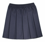 Navy Box Pleated Skirt