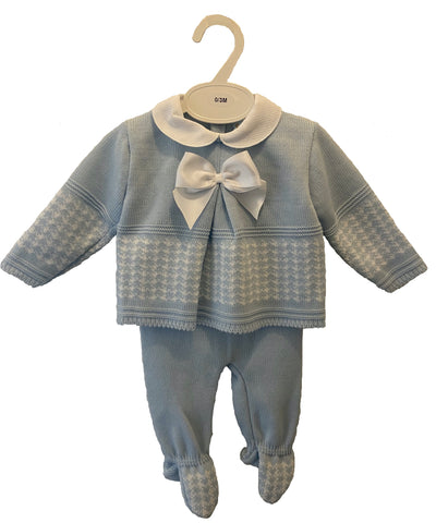 Baby Blue Pequilino Bow Set